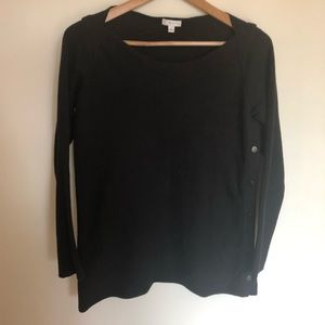 W Lane black sweater with side pop buttons small